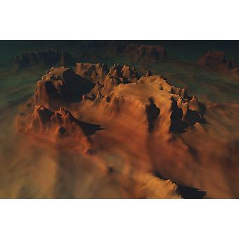 Overhead view of a desert mountain worn down from erosion Poster Print