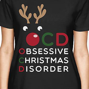 OCD Obsessive Christmas Disorder Black Women's Tee Cute Holiday Gift