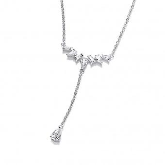 Cavendish French Silver and CZ Delicate T Drop Necklace