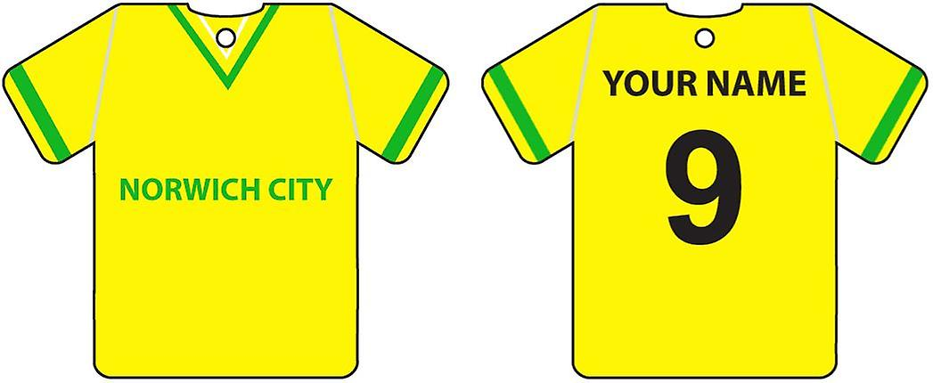 Personalised Norwich City Football Shirt Car Air Freshener