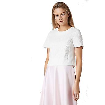Topshop White Jacquard Front Tee TP576-12