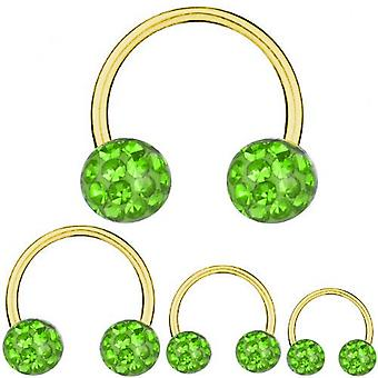 Circular Barbell Horseshoe Gold Plated Titanium 1,2 mm, Multi Crystal Ball Green  | 6-12 mm
