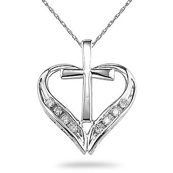 De la Cruz y corazón colgante de diamantes, oro blanco de 14K
