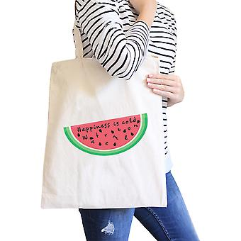 Happiness Is Cold Watermelon Cute Eco-Friendly Canvas Shoulder Tote