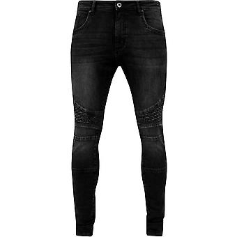 Urban Classics Black Washed Slim Fit Biker Jeans