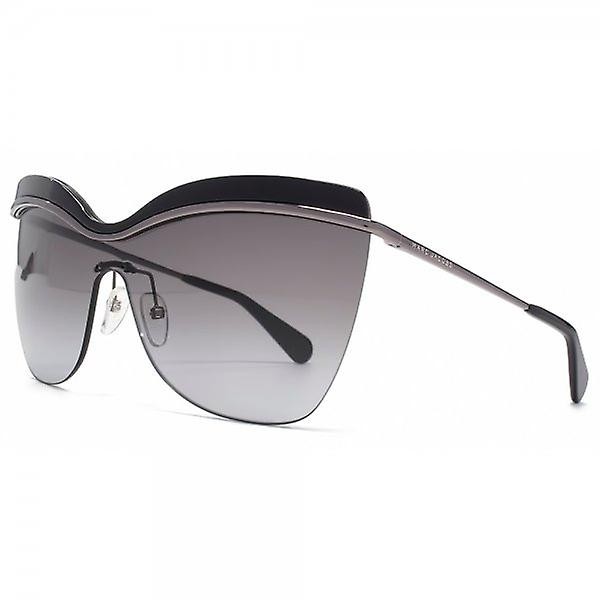 Marc Jacobs Enamel Brow Visor Sunglasses In Dark Ruthenium Black