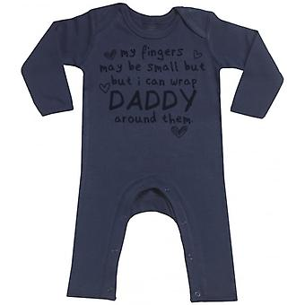 Spoilt Rotten Daddy Wrapped Navy Baby Footless Romper