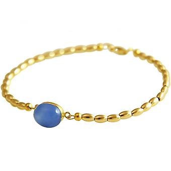 Blue - 18 cm - chalcedony - gold-plated ladies - bracelet-
