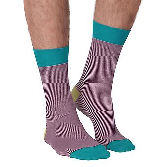 Fine Line men's Soft Bamboo Crew Socks In pale pink | By Doris & Dude