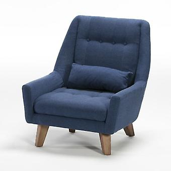 Thai Natura Brown Wood Chair and Blue Fabric