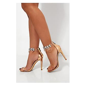The Fashion Bible Barlo Rose Gold Jewelled Clear Strap Heels