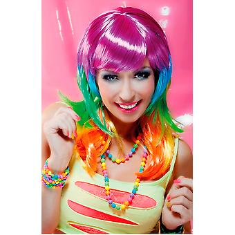 Muticoloured Bright Neon Rave Wig With Fringe & Layers Fancy Dress Accessory