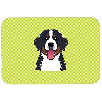 Checkerboard Lime Green Bernese Mountain Dog Mouse Pad, Hot Pad or Trivet