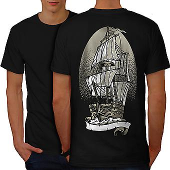 Ship Old Sail Sea Fantasy Men BlackT-shirt Back | Wellcoda
