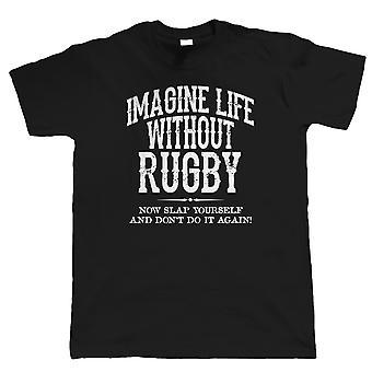 Leben ohne Mens Funny T Rugbyshirt