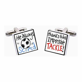 Thanks to his Tackle Cufflinks by Sonia Spencer, in Presentation Gift Box. Football
