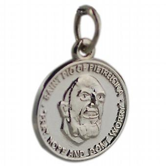 9ct White Gold 14mm round St Padre Pio Pendant