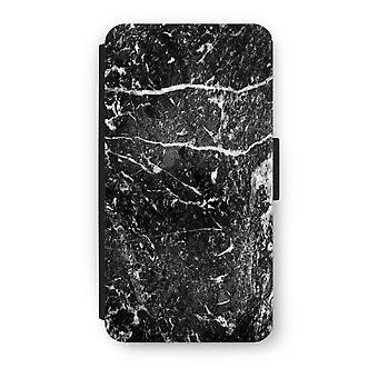 iPhone X Flip Case - Black marble