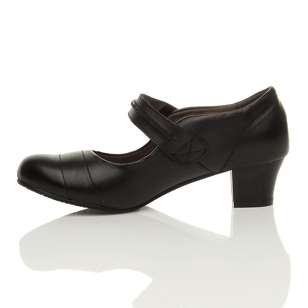 flexible shoes amp; jane heel Ajvani work comfort mid leather hook court sole womens loop mary nqHRWfqX