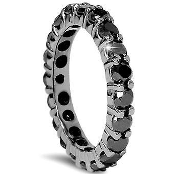 2 CT Black Diamond Eternity Ring 10K zwart goud