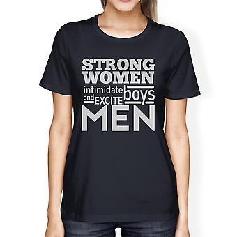 Strong Women Womens Navy Cute Graphic T-Shirt Funny Workout Gift