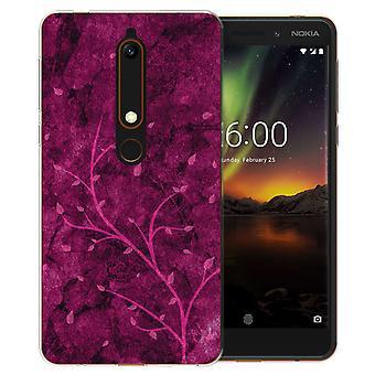 Nokia 6 (2018) Pink Tree TPU Gel Case