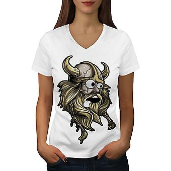 Scared North Joke Women WhiteV-Neck T-shirt | Wellcoda