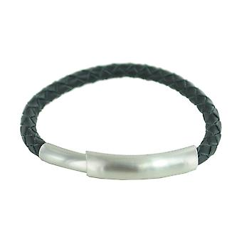 ESPRIT men's leather bracelet stainless steel Silver Black ESBR10327C185