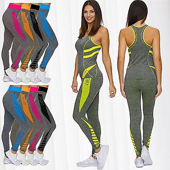 Ladies GYM sport suit Yoga Fitness training set two piece workout leggings new