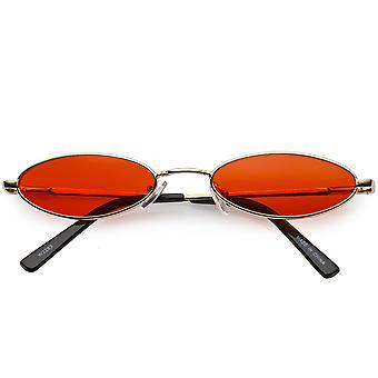 Retros gafas de sol Oval pequeño delgado brazos Color teñido plana lente 51mm