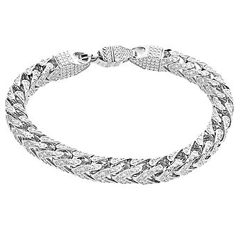 Premie Bling 925 sterling zilveren armband - FRANCO 7x7mm