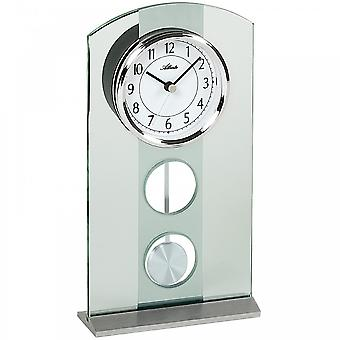 3120 table clock quartz with pendulum silver modern Atlanta with glass pendulum clock