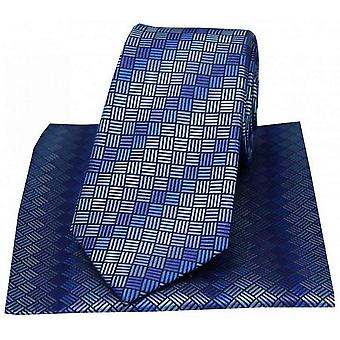 David Van Hagen Box Patterned Tie and Handkerchief Set - Blue