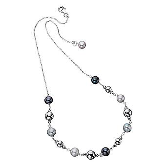 Elements Silver Freshwater Pearl Bead Necklace - Silver/Black