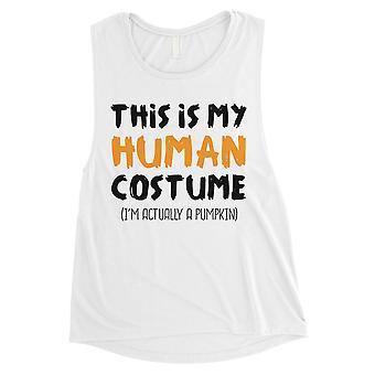 Human Costume Pumpkin Womens White Muscle Shirt