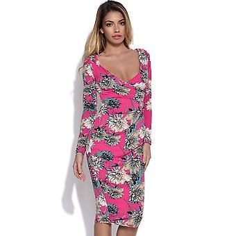 Lever én og én Floral Wrap Jersey Midi kjole