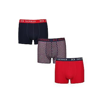 Ben Sherman Underwear Men's 3 Pack Boxer Trunk Shorts Navy Red Weston