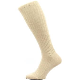 Pantherella Laburnum Rib Over the Calf Merino Wool Socks - Light Khaki
