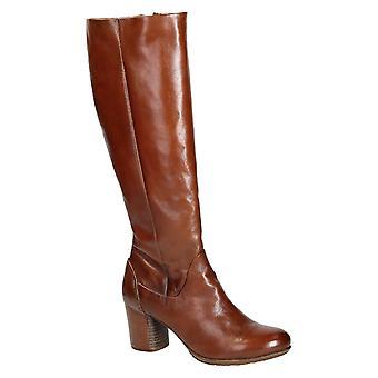 Heeled knee high boots Handmade in tan calf leather