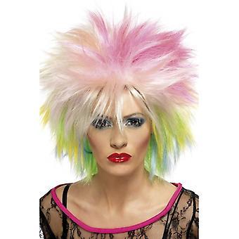 Multi larga peluca Spikey, 80's Linda peluca, peluca de la actitud