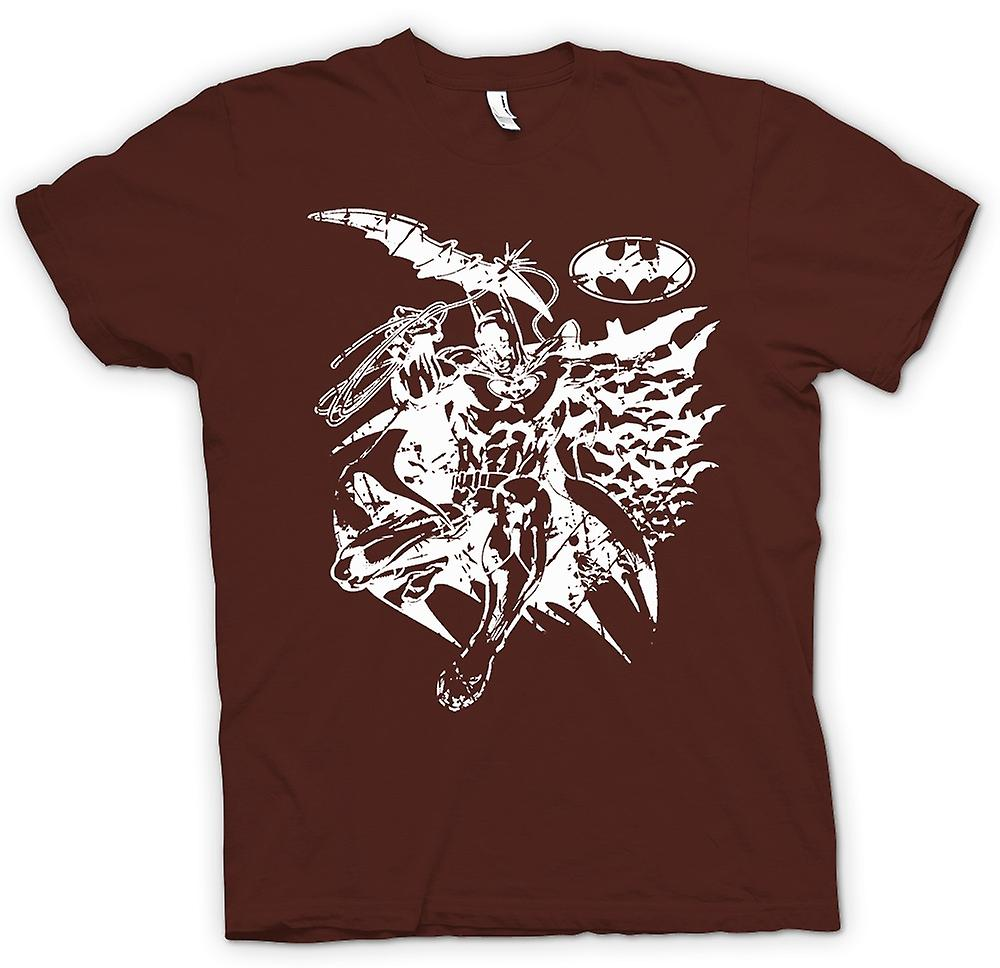 Mens T-shirt - Batman Bats Caped - Crusader - BW