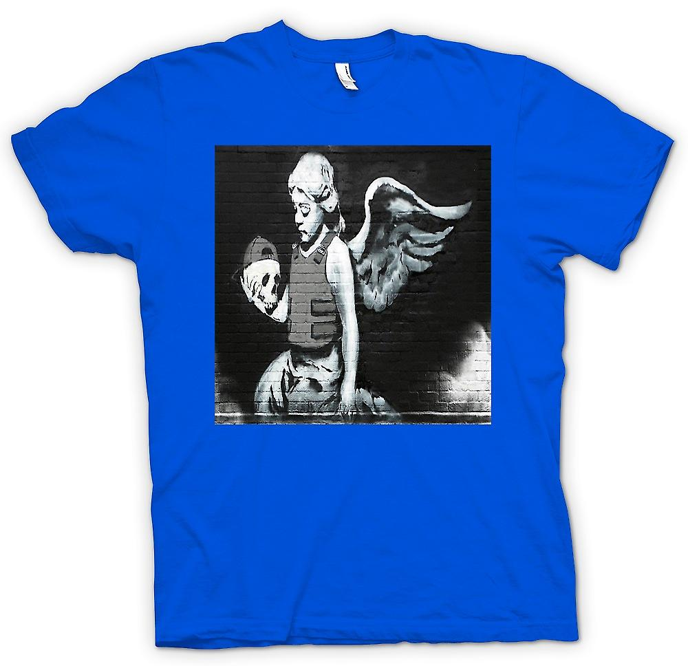 Camiseta para hombre - Angel Banksy - Mural de pared