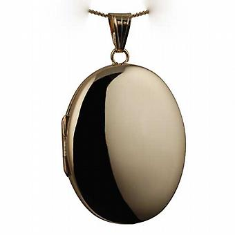 18ct Gold 35x26mm plain handmade oval Locket with a curb Chain 20 inches