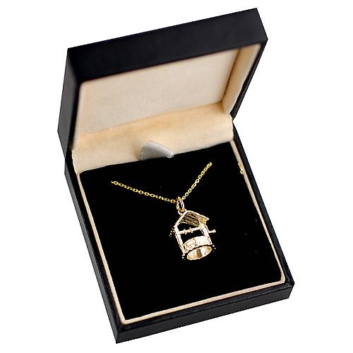 9ct Gold 15x13mm Wishing Well with Cable link chain