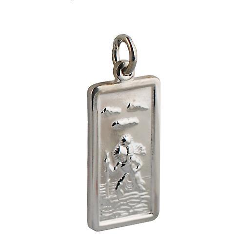 Silver 26x13mm rectangular St Christopher