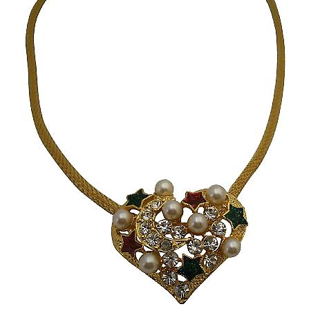 Heart Shaped Gold Pendant w/ Pearls & Rhinestones Necklace