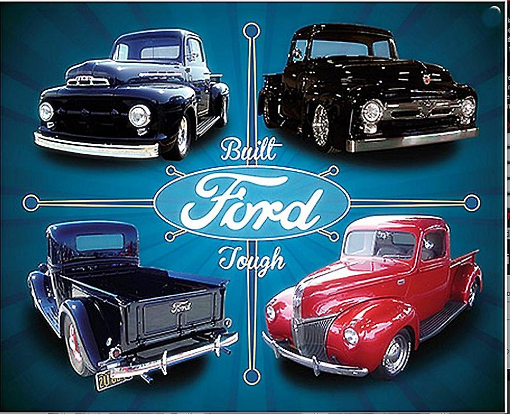 Ford Built Tough Four Trucks metal sign    (ga)