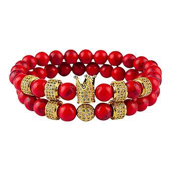 Armbänder-glatte Perlen und Kronleuchter, rot