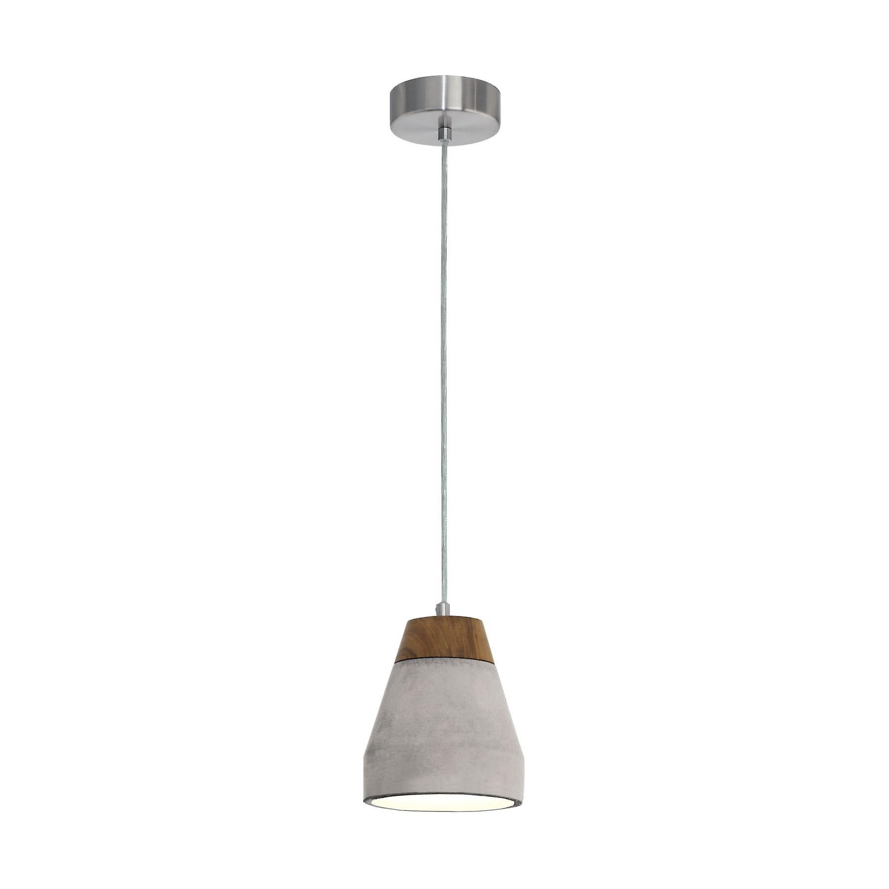 Eglo - Tarega Single lumière Ceiling pendentif In gris Concrete And bois Finish EG95525