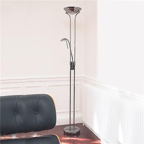 Endon ROME-CH Rome Modern Mother And Child Floor Lamp With Double Dimmer Switch